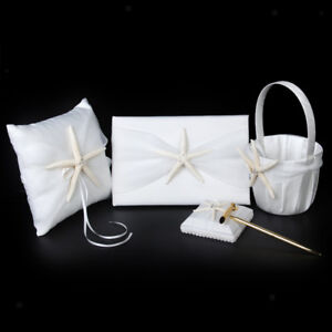Starfish Sea/Beach Theme Wedding Set Ivory Guest Book Pen Ring Pillow Basket