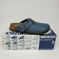 Birkenstock Papillio Sz 6 Boston Denim Print Buckle Mules Slip On Clogs Shoes VG