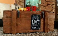 Table basse coffre en bois Boîte shabby chic Caisse aime Miracles