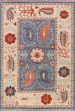 Floral Super Kazak BLUE/IVORY Hand-Knotted Wool Area Rug Oriental Carpet 6'x9'