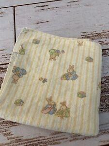 """Beatrix Potter Peter Rabbit Baby Receiving Blanket Yellow Striped 26 1/2""""X27 1/2"""
