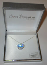 """Clear AB Heart Swarovski Necklace Crystal 18mm Silver Plated New Gift Box 17"""""""
