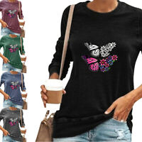 Women Butterfly Printed Tunic Tops Ladies Long Sleeve Blouse T Shirt Plus Size