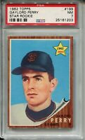 1962 Topps Baseball #199 Gaylord Perry Rookie Card RC Graded PSA Nr Mint 7