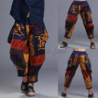 Vintage Harren 100% Baumwolle Lose Haremshose Strand Floral Ethnic Pants Hosen