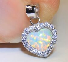 Sterling Silver (925) Opal Cabochon  Heart Cluster Pendant