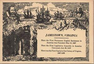Jamestown Island Virginia Pocahontas Capt. John Smith Vintage Postcard Unposted