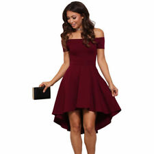 Womens Summer Casual Off-Shoulder Party Evening Cocktail Swing Short Dress