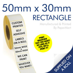 Personalised Custom Printed Address Label Stickers on a ROLL - 50mm x 30mm