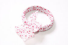 Small Pink Hearts & Bow (S568) Lovely Girly White Fabric Bangle Bracelet with