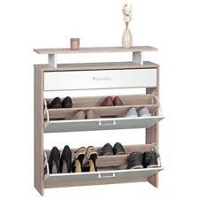 Schuhschrank mit 2 Schuhkipper Sonoma Eiche Front Weiß Schuhkommode Flur Möbel