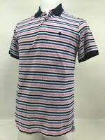 Izod Polo Shirt Short Sleeve Mens Medium M 100% Cotton Blue Pink Striped Golf