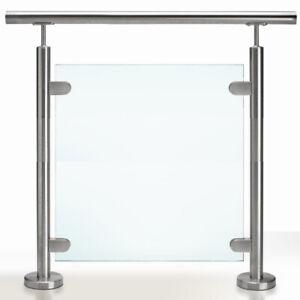 Grade 316 Stainless Steel Balustrade Post Garden Glass Clamps Handrail Pole Rail