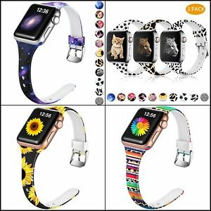 Slim Band for Apple Watch Fadeless Pattern Soft Silicone Narrow Thin Sport Strap
