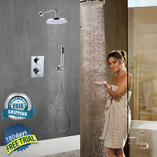 Round Concealed Thermostatic Shower Mixer Valve 2 Handle 2 Way Overhead Handheld