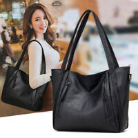 Large Capacity Leather Handbag Casual Shoulder Bag Womens Pocket Soft Black
