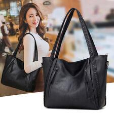 Large Capacity Leather Handbag Casual Shoulder Bag Womens Pocket Soft Black