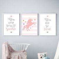 Pink Unicorn Wall Art Nursery Poster Canvas Print Baby Girl Bedroom Decoration