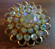 """Rhinestone Pin Brooch 1.5"""" Unmarked Vintage Gold Tone Round Clear"""