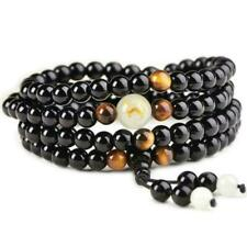108 Buddha Bead Luminous Black Onyx Dragon Mala Yoga Natural Bracelet O8A7
