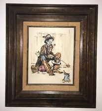 "Norman Rockwell Picture On Cultured Ivory Engraved ""Hobo And Dog"" Dinner Out"