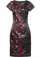 Satinkleid Gr. 34 schwarz rot Druckkleid Minikleid Business Kleid chic