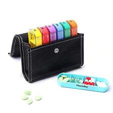 Pilulier Semainier Boîte à Pilules 7 Couleurs Jour Semaine Pochette Cuir Voyage