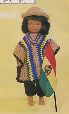Crochet Pattern ~ Miss Bolivia Doll Outfit Poncho, Pants, Hat ~ Instructions