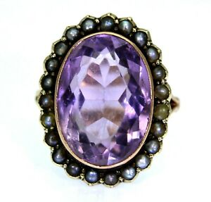 Edwardian Large Amethyst Pearl Cluster 9ct Yellow Gold Ring size N 1/2 ~ 7