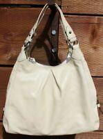 COACH Madison Maggie Cream Patent Leather Shoulder Bag Hobo Purse Large #D-24