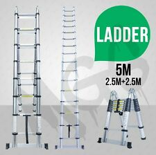 NEW 5m Telescopic Aluminium Ladder Extension Alloy Extendable Step Aus