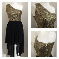 Black & Gold Sequin Quiz Dress Size 10 One Shoulder High Low Party Prom