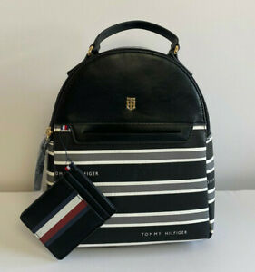 TOMMY HILFIGER WOMEN'S BACKPACK BLACK & GRAY w/ POUCH *NEW*
