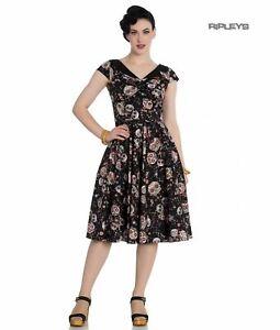 Hell Bunny Pinup Vintage Rockabilly Black 50s Dress IDAHO Skulls XS UK 8