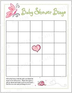 Girl Butterfly Baby Shower BINGO Game - Printable at home PDF 8.5 x11 Letter Sz