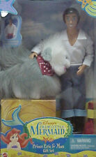 NEW DISNEY THE LITTLE MERMAID PRINCE ERIC AND DOG MAX BARBIE KEN DOLL SET