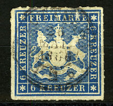 Wuerttemberg, 1865 the 6 KR. blue, rouletted, VF + used
