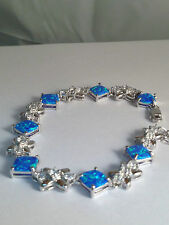 "platinum finish AAA CZ blue FIRE OPAL 925 STERLING SILVER  BRACELET 7"".1/2"