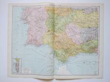 1920 Mapa España South West Gibraltar Gran Mapa Color bruto