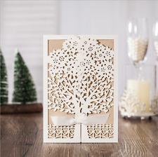 50PCS ivory Tree Wedding Favor Invitation Card Ribbon Envelope Seal Personalized