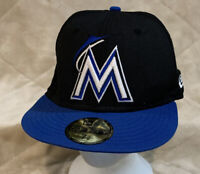 Miami Marlins Size 7 3/8 New Era 5950 Blue Brim Baseball Hat Cap MLB NL Florida