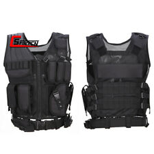 Breathable Mesh Tactical Military Molle Vest with Utility Pouches Airsoft Black
