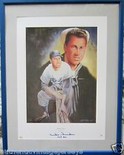 Duke Snider signed autographed Brooklyn Dodgers lithograph framed HOF 80 PSA/DNA
