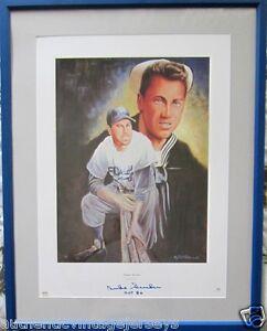 Duke Snider signed autographed Brooklyn Dodgers lithograph framed HOF 80 PSA/DNA
