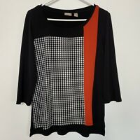 Chicos Tunic Top Blouse Size 1 Medium Black White Red Stretch 3/4 Sleeve W