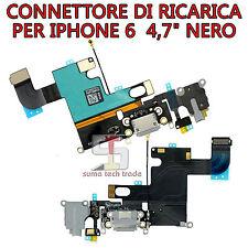 """FLAT DOCK CONNETTORE DI RICARICA JACK ANTENNA MICROFONO PER IPHONE 6  4,7"""" NERO"""