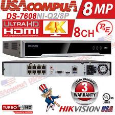 Hikvision NVR 8CH POE USA DS-7608NI-Q2/8P NVR  H.265+ 4K-UHD 3 YEAR GUARANTEE