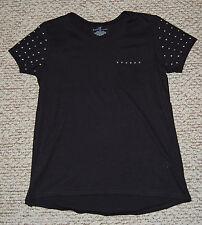 Womens Tee Shirt BLACK Round Neck Cap Sleeve POCKET Embellished Round Hem M 8-10