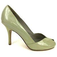 Steve Madden Women's Peep Toe High Heels Pumps Shoes Patent Leather Putty Sz 9.5