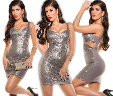 Koucla Minikleid Kleid Pailletten Cut Out Abendkleid Silvester Party Clubkleid B